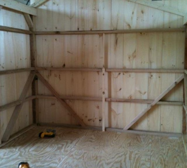 storage shed_inside view_oak framing